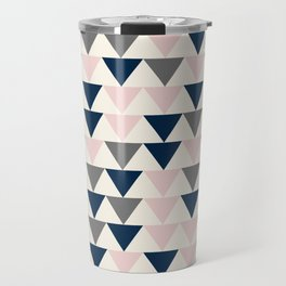 Arrows in Gray, Navy Blue, Blush Pink, and Champagne Ivory. Minimalist Geometric Pattern Travel Mug
