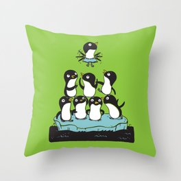 Penguin Pyramid - Green Throw Pillow