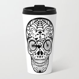 Vintage Mexican Skull with Bicycle - black and white Travel Mug