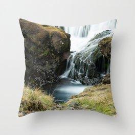 Skogafoss Long Exposure Throw Pillow