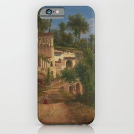 The Hermitage of St Maria of the Avvocatella near Naples by Eu von Guerard Date 1849 iPhone Case