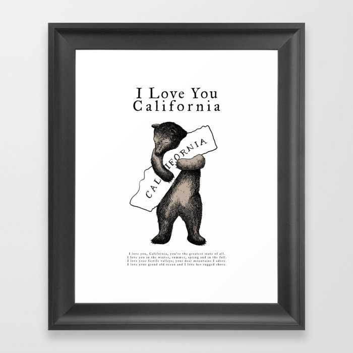 i love you california Gerahmter Kunstdruck
