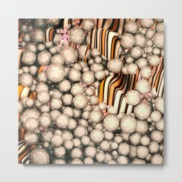 Large group of yellow abstract orbs or pearls or spheres Metal Print