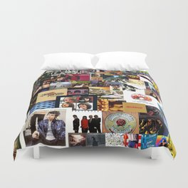 Classic Rock And Roll Albums Collage Duvet Cover