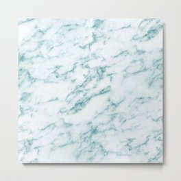 Ribbons of Aqua and White Marble Metal Print