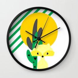 Cute fox in the desert Wall Clock