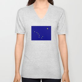 flag of alaska,america,usa,ice, north,Midnight Sun,Alaskan,Anchorage,Fairbanks,Juneau Unisex V-Neck