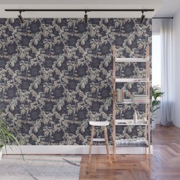 Water Swingers in Night Out ( leafy sea dragon pattern in navy and cream ) Wall Mural