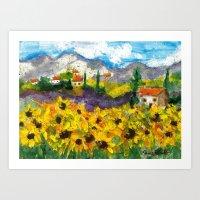 Sunflowers in Tuscany Art Print
