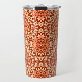 Southwestern Sun Mandala Batik, Coral Orange Travel Mug