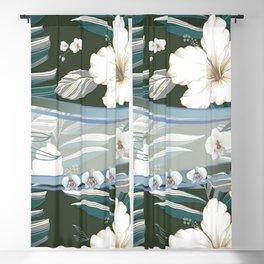 Tropical Hibiscus Bark Cloth Blackout Curtain
