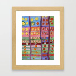 Colorful Grid Pattern with Numerous Circles Framed Art Print