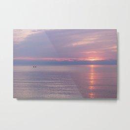 Canoeing at Sunset Metal Print