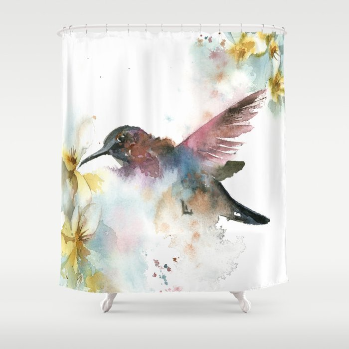 Hummingbird Shower Curtain By Canotstop
