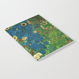 Farm Garden with Sunflowers and blue leaves by Gustav Klimt Notebook
