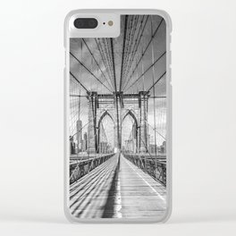 NEW YORK CITY Brooklyn Bridge | Monochrome Clear iPhone Case