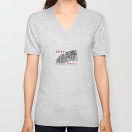Holiday Greeting Pen and Ink Zentangle Unisex V-Neck