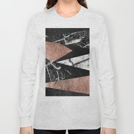 Elegant Modern Marble, Rose Gold, & Black Foil Triangles Long Sleeve T-shirt