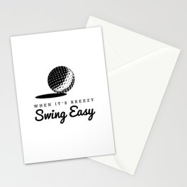 When It's Breezy, Swing Easy, Golf Golfing Golfer Father's Day Gift Dad Grandpa Stationery Cards