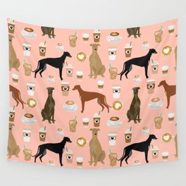 Greyhound coffee dog breed illustration dog art custom dog breeds groundhound rescue dog lovers Wall Tapestry