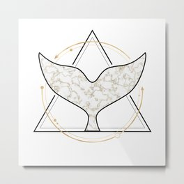 Whale Tail Geometric Golden Marble Metal Print