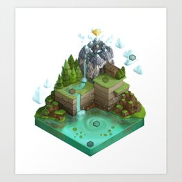 Isometric Board Game World (white background) Art Print