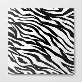 modern safari animal print black and white zebra stripes Metal Print