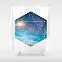 guardians of the galaxy Shower Curtains featuring Galaxy Guardians by GeoDesigned