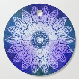 tie dye sunflower mandala in blues Cutting Board