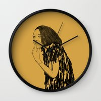 witch Wall Clocks featuring Witch by Skinny Gaviar