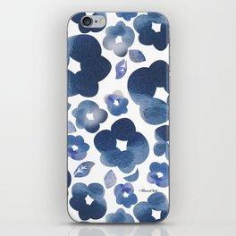 Blue Watercolour Flowers iPhone Skin