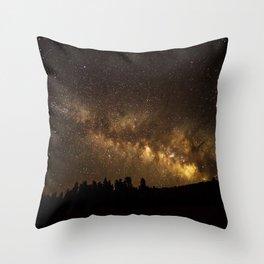 Above the Horizon - Milky Way Galaxy Above Treeline in Colorado Throw Pillow