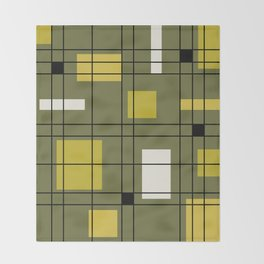 1950's Abstract Art Avocado Green Throw Blanket