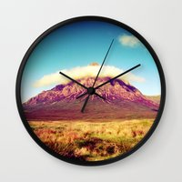 scotland Wall Clocks featuring Buachaille Etive Mòr, scotland. by zenitt