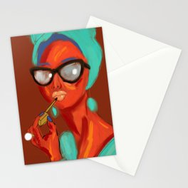 Lipstick Lady #OilPainting #ArtNouveauStyle Stationery Cards