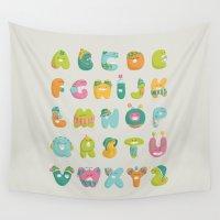 alphabet Wall Tapestries featuring alphabet by lalehan canuyar