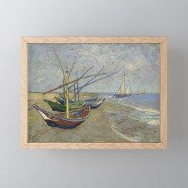 """Vincent Van Gogh """"Fishing boats on the Beach at Les Saintes-Maries-de-la-Mer"""" Framed Mini Art Print"""