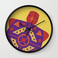 turtle Wall Clocks featuring Turtle by Claire Lordon
