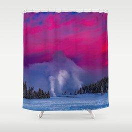 Geysers Raising - Sunrise - Yellowstone National Park Shower Curtain