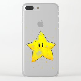 Invincibility Star Mario Watercolor Geek Gamer Art Clear iPhone Case