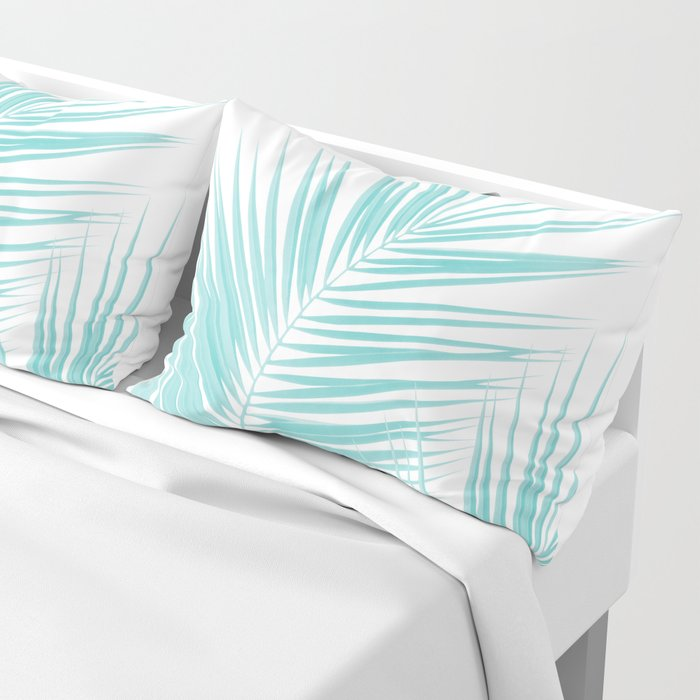 Soft Turquoise Palm Leaves Dream - Cali Summer Vibes #1 #tropical #decor #art #society6 Kissenbezug
