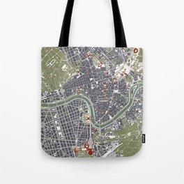 Rome city map engraving Tote Bag