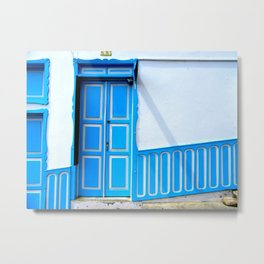 Doors - Blue and White Metal Print