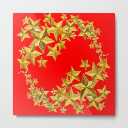 DECORATIVE GOLD  STARS RED CHRISTMAS ART Metal Print
