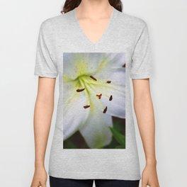 White Easter Lily Close Up Unisex V-Neck