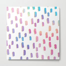 Abstract pink lavender faux gold glitter brushstrokes Metal Print