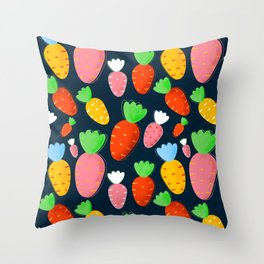 Carrots not only for bunnies - seamless pattern Throw Pillow