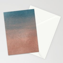 Abstract peacock blue coral ombre watercolor Stationery Cards