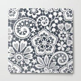 White Lace. Seamless Pattern. Metal Print