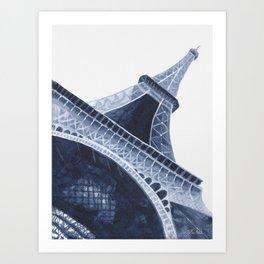Bleu Eiffel Tower Art Print